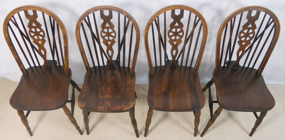 Wonderful Set Of Four Antique Style Wheelback Kitchen Dining Chairs By Webber  Furniture   SOLD